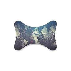 Map Custom Travel Pillow Bone Shape Car Neck Pillow Car Seat Neck Rest Cushion Sofe And Healthy