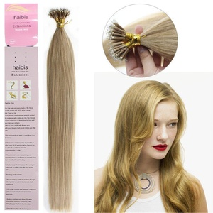 haibis 16''-22''Straight Remy Nano Ring Tip Human Hair Extensions with Nano Rings 1g/s 100s(18'',#27 Dark Blonde)