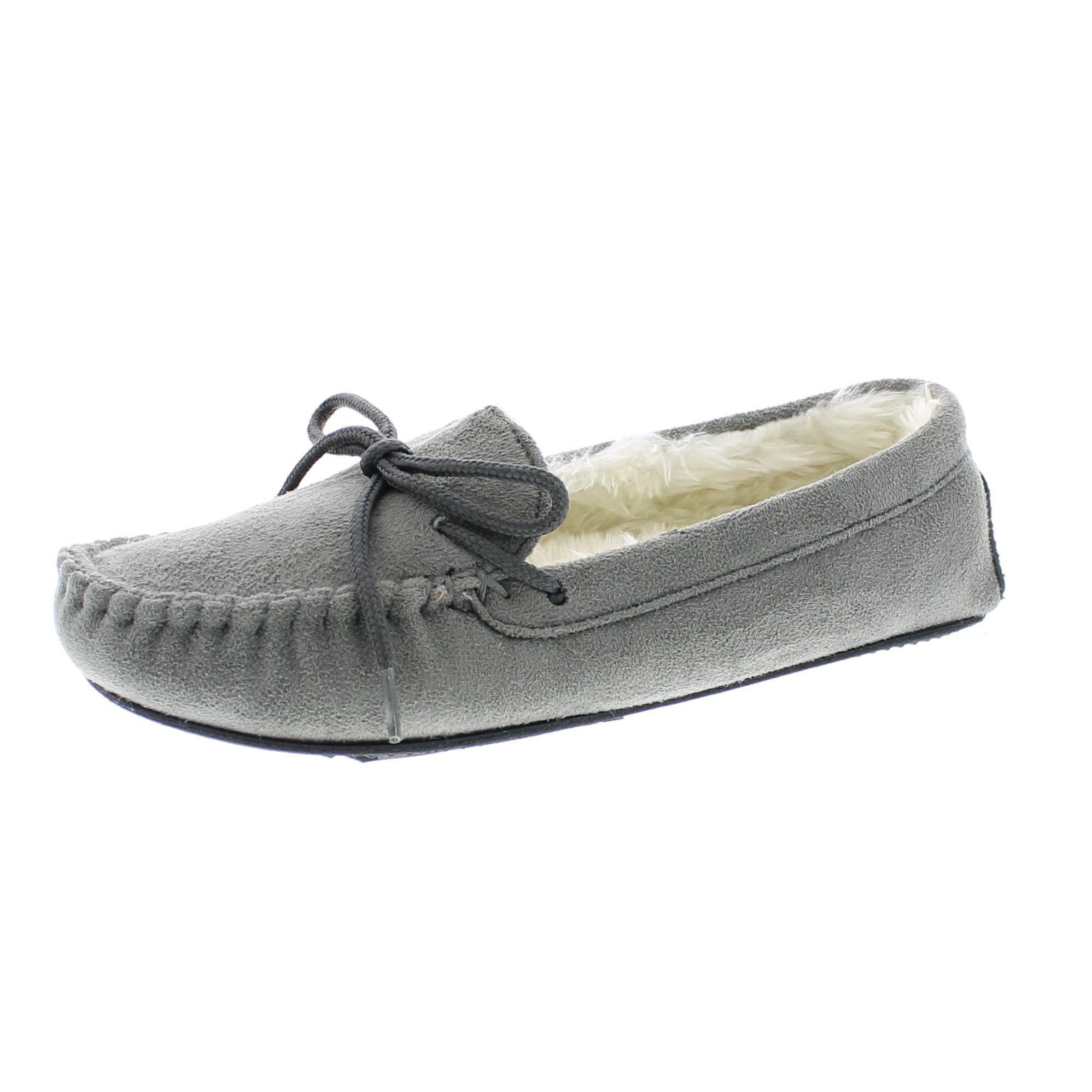 Gold Toe Women's Frances Plush Faux Fur Lined Microsuede Moccasin Slipper with Rope Cord Lace Bow Grey L 9 US