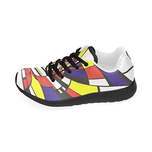 Thelma Lattice Mondrian Casual Canvas Men's Running Shoes Sneakers,Black