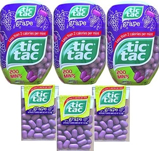 Tic Tacs Grape Flavored Mints Gift Set with Tic Tacs Classic Container Grape Flavored Less Than 2 Calories Per Mint (Set Of 6) by Tic Tacs