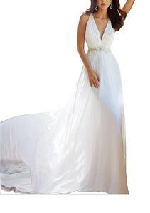 Meledy Women's V-Neck Sheer beading Lace Back Chiffon Beach Wedding Dress