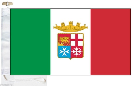 Italy Navy Ensign Courtesy Boat Flag - Roped & Toggle - 5'x3' - 150cm x 90cm