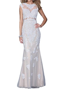 Winnie Bride Gorgeous Lace Beaded Formal Evening Dress for Women Long Prom Gown-22W-Silver