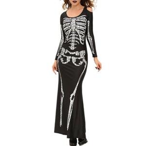 SEBOWEL Women's Spandex Printed Glow-In-The-Dark Skeleton Catsuit Dress