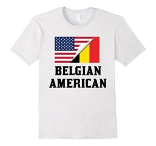 Men's Flags of Belgium And USA Belgian American T-Shirt XL White