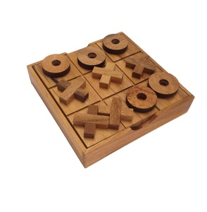 Portable Wooden Tic Tac Toe OX Game Set