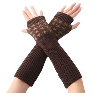 HN Women's Hand Crochet Winter Warm Fingerless Arm Warmers Gloves (Coffee)