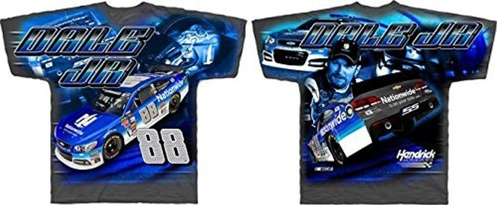 Dale Earnhardt Jr Nationwide Checkered Flag Total Print Gray T-Shirt Adult 3XL