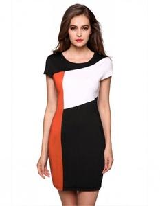 Cap Sleeve Patchwork Stretch Bodycon Dress