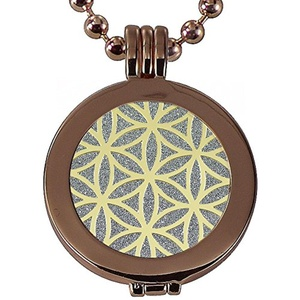Quiges - 25mm Coin Locket with 2 Coins Tree of Life/Flower of Life and Necklace with extra Snap Button Bracelet #1409