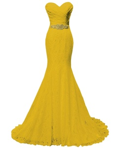 Solovedress Women's Beaded Pleat Lace Wedding Dress Mermaid Evening Dress with Sash (Us 16, Yellow)