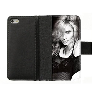 DONGMEN New fashion custom Madonna hight quality Internal Pocket Plastic Back Leather Cover iPhone 5/5S Flip Case