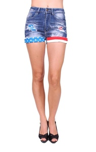 Machine Jeans Women Folded Distressed Shorts Jeans with American Flag 9 Medium Denim