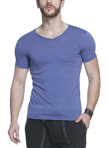 Tinted Men's Solid V-Neck Half Sleeve T-Shirt (X-Large, Royal Blue)