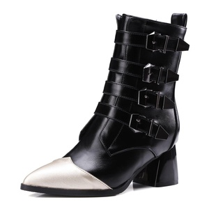 AIWEIYi Womens Pointed toe Buckles Strap Platform Combat Chunky Heel Martin Boots