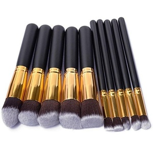 Ammiy 10 pcs Professional Make Up Brushes Cosmetic Set Dailt Foundation Blusher Face Powder for Make up School / Salon / Wedding Christmas Halloween Party / Daily Foundation Black + gold by Ammiy