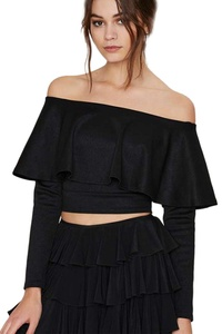 YACUN Women's Long Sleeve Off the Shoulder Fitted Crop Top Shirt Black 8