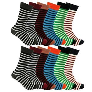 FREEDOM Mens Dress Socks Cotton Blend 12 Pair (10-13 (Shoe: 8-12), Stripe - 12PK)