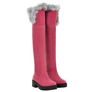 Show Shine Women's Mid Chunky Heel Platform Knee High Tall Boots (5, grey)