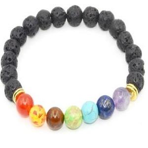 Leobeads Volcano Lava Stone Yoga Healing Energy 7 Chakra Fashion Bracelet