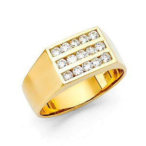 14K Solid Yellow Gold Thick 9mm Cubic Zirconia Men's Ring, Size 7.5