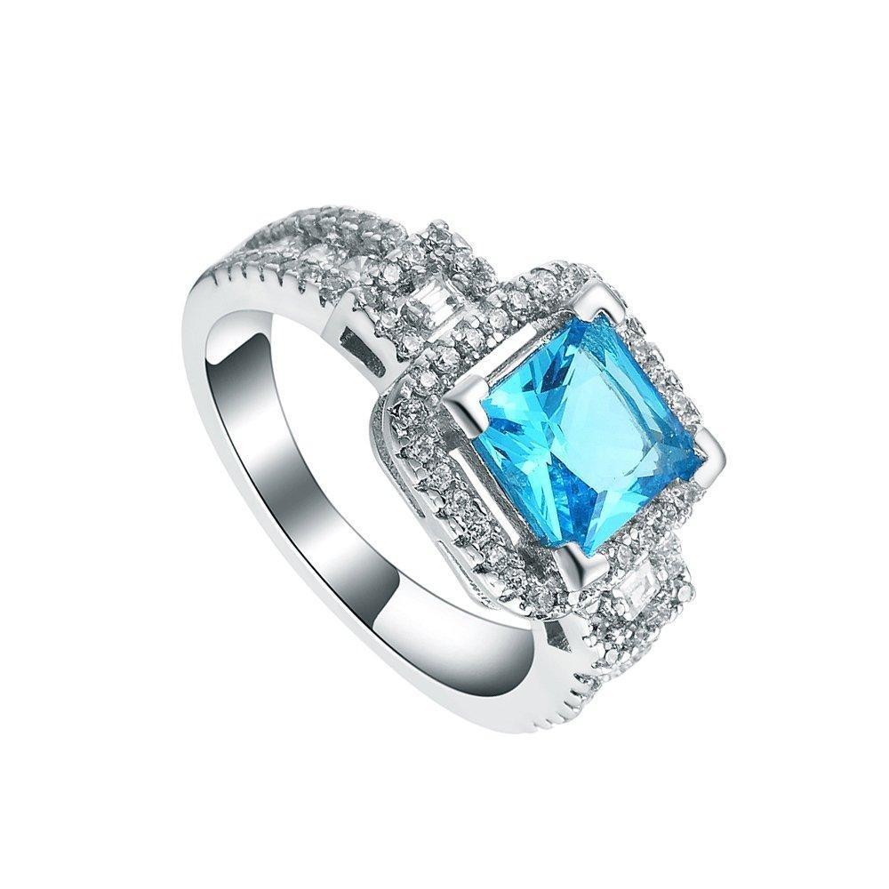 Womens Blue CZ Zircon Full Crystal Band Ring Bridal Wedding Engagement Jewelry US 6.7.8.9