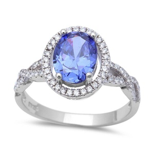 Accent Halo Infinity Shank Wedding Ring Oval Cut Simulated Tanzanite Round CZ 925 Sterling Silver