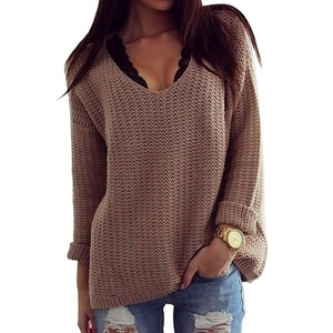 TLY Women's Hollow Knit V-Neck Blouse Pullover Loose Tops Sweater,Khaki L