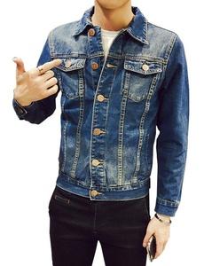 Plaid&Plain Men's Slim Fit Back Printed Denim Jacket Jean Jackets Blue-1 M