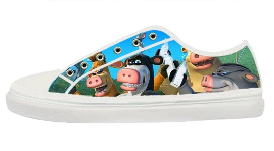 Women's Lace-up Low Top Zipper White Rubber Sole Shoes Popular Barnyard Cartoon Design-9M(US)