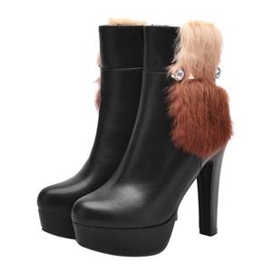 Show Shine Women's Sexy Platform High Heel Dress Ankle Boots (4.5, black)
