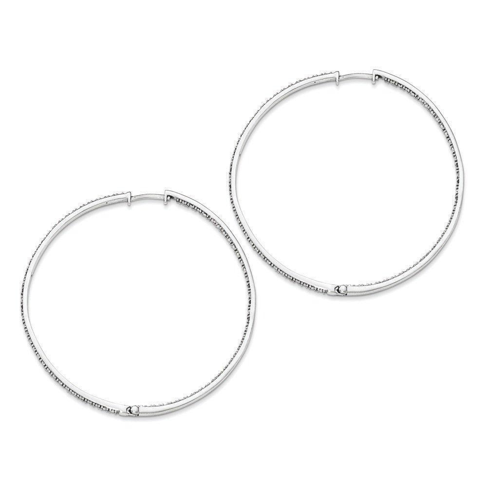 .925 Sterling Silver 60 MM Diamonds In & Out Hoop Earrings