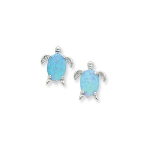 .925 Sterling Silver 12 MM Created Opal Turtle Post Stud Earrings