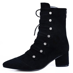 Nine Seven Suede Leather Women's Pointed Toe Chunky Heel Buckle Lace Up Handmade Ankle Bootie (5.5, black)