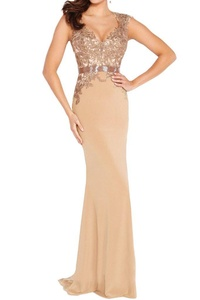Winnie Bride Sexy V-Neck Lace Party Prom Dress Fitted Evening Gown For Women-16-Light Brown