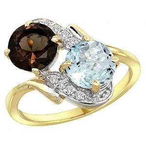 14k Yellow Gold Diamond Natural Smoky Topaz & Aquamarine Mother's Ring Round 7mm, size 5