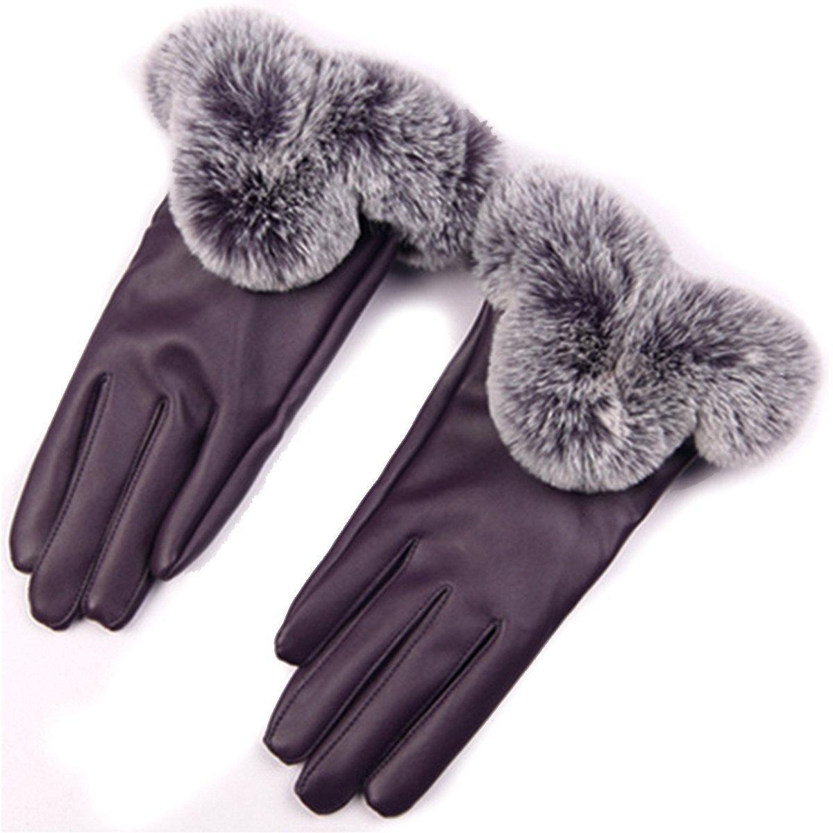 Fake leather driving gloves - Aisa Womens Soft Faux Leather Driving Gloves Touch Screen Windproof Gloves Winter Warm Wear Color Purple