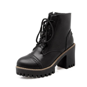 Lucksender Womens Lace Up Round Toe Chunky High Heel Platform Ankle High Boots 8B(M)US Black