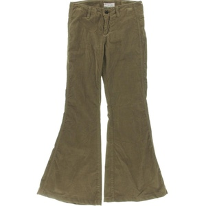 Free People Womens Stretch Flared Corduroy Pants Green 25