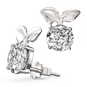 Feramox Silver Plated simulated birthstone Earrings Round Cubic Zirconia Stud Earrings for Girls
