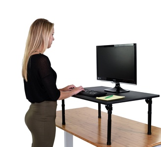 Adjustable Height Standing Desk w/ Folding legs - Convert your desk to a standing desk (Desk Length: 32