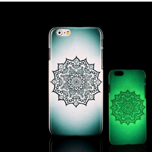 iPhone 7 Case, Glow in the Dark Black Mandala Datura Stramonium Pattern TomCase Fluorescent Back Cover for iPhone 7 Case 4.7 inch, P14