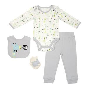 Baby Gear 4Pc Luxe Newborn Boy Giraffe Bodysuit, Pant, Bib & Sock Set 9-12M