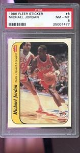 1986-87 Fleer Sticker #8 Michael Jordan ROOKIE RC PSA 8 Graded Basketball Card