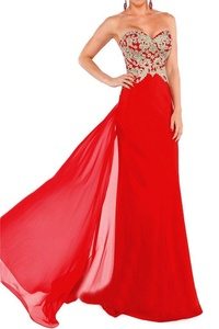 Winnie Bride Chic Formal Pageant Dress Long Fitted Evening Gown with Appliques-14-Red