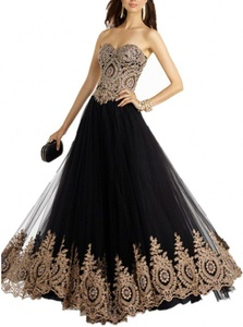 Winnie Bride New Black Evening Dress for Women Party Prom Ball Gown Long 2017-24W-Black