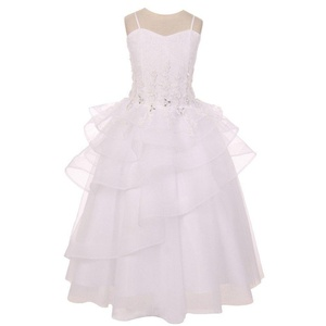 Chic Baby Little Girls White Lace Tiered Pageant Flower Girl Dress 4-6