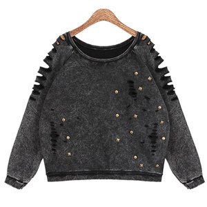 Season Show Womens Hollow Frayed Decoration Pullover Sweatshirt Hoodie Top Black One Size