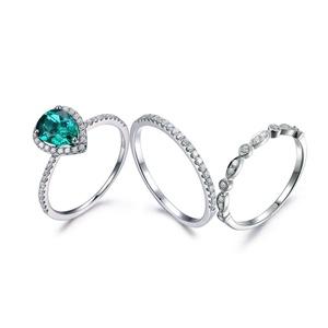 Pear Cut Emerald Ring,14K White Gold Half Eternity Wedding Set,Milgrain Diamond Engagement Ring